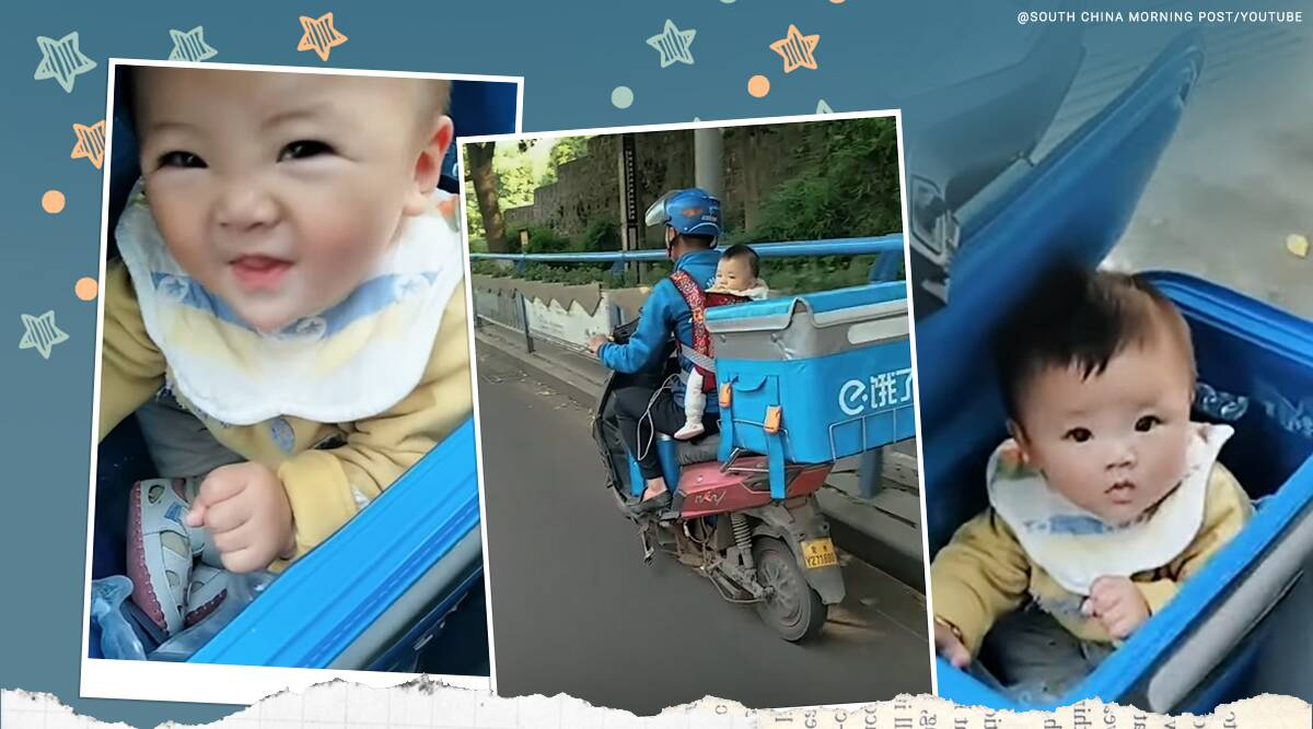 china, china delivery boy, china delivery boy with baby, delivery man ferries with baby, odd news, viral videos, indian express