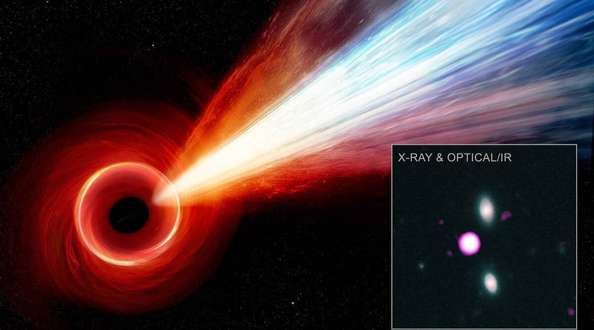 Astronomers discover longest jet of particles coming from black hole in ancient universe - The Indian Express