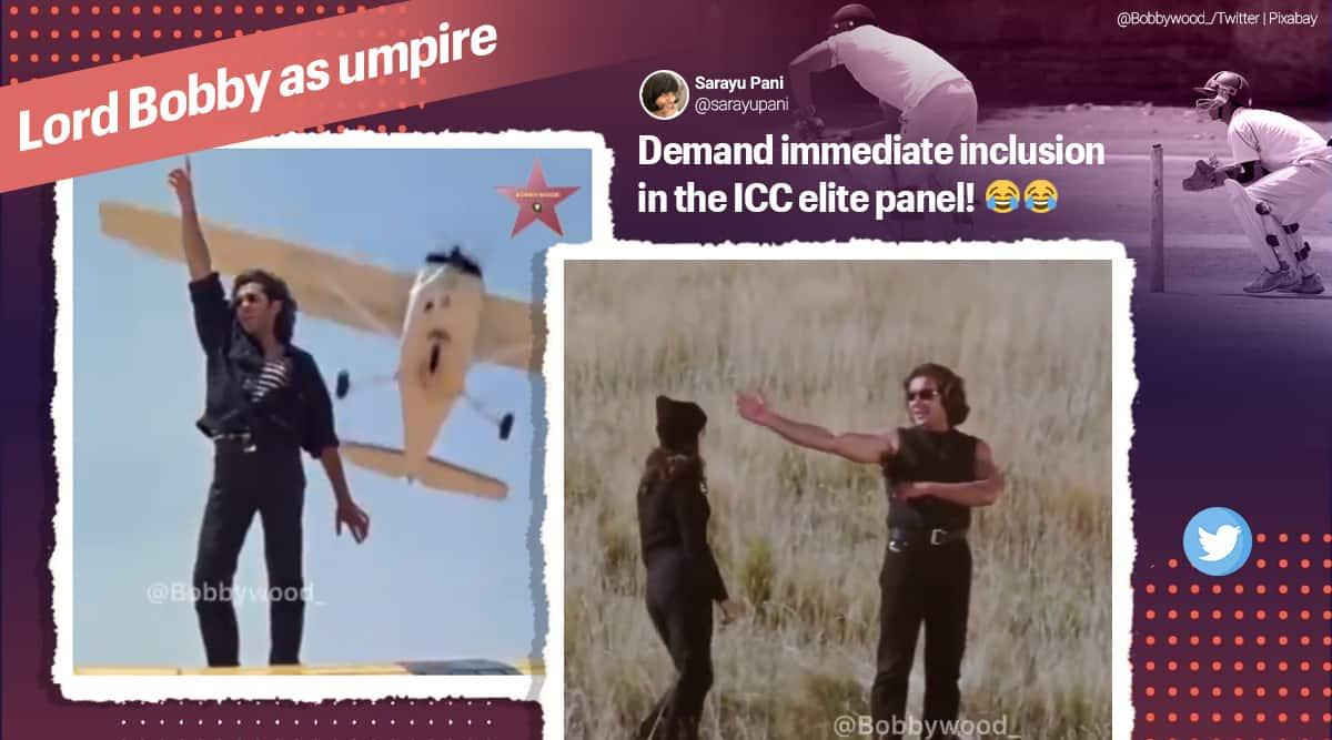 booby deol, bobby deol umpire, bobby deol funny videos, bobby deol umpire moves, bobby deol memes, indian express news, cricket news, sports news