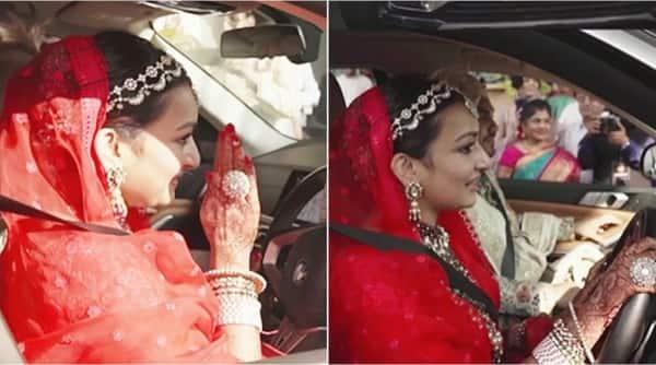 bride vidaai video, bride drives car after vidai, kolkata bride drives car to sasural, viral news, new bridal ritual, viral wedding video, indian express,