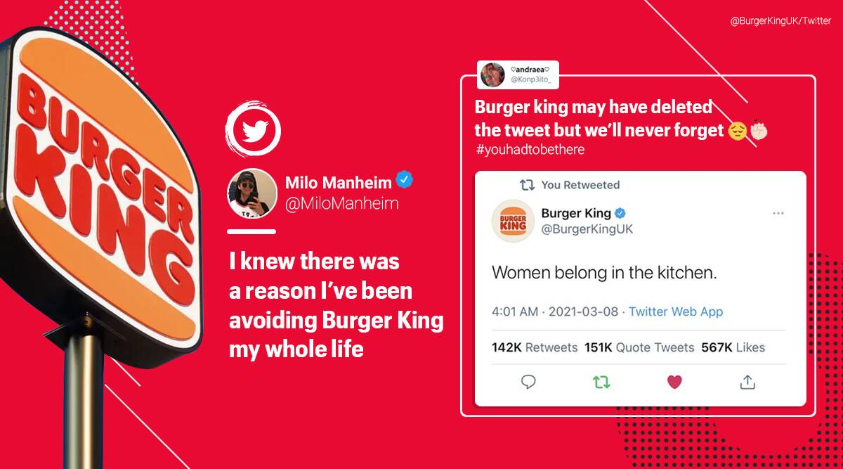 Burger King deletes sexist tweet on International Women's Day, but netizens are not convinced - The Indian Express