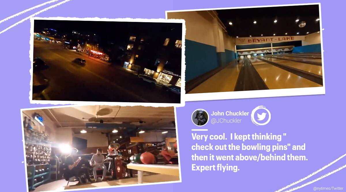 Drone video, Bowling alley, Drone video inside bowling valley, Minneapolis bowling alley drone video, Right Up Our Alley drone video, Bryant Lake Bowl & Theatre drone video, viral video, trending news, indian Express news