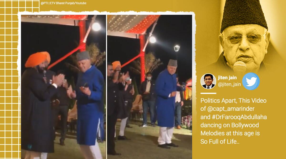 farooq abdullah, farooq abdullah dancing, captain amarinder singh, farooq abdullah dancing captain amarinder, viral videos, politician dancing video, punjab news, indian express