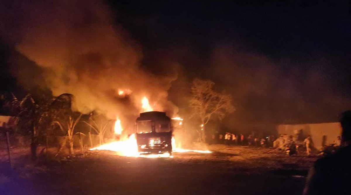 pune fuel tanker, Pune fuel tanker fire, pune fuel tanker catches fire, indian express news