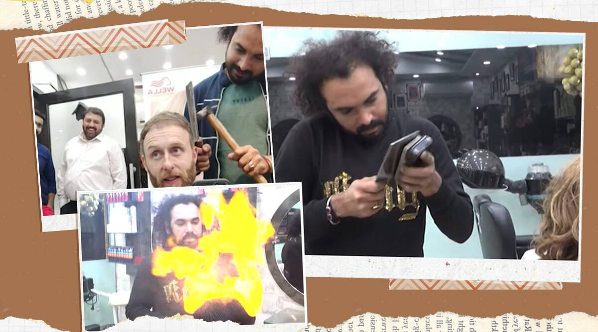 Pakistan, Pakistan hairdressers, Pakistan hairdressers fire viral video, fire video, hairstyles, unique hairstyles, trending, indian express, indian express newse