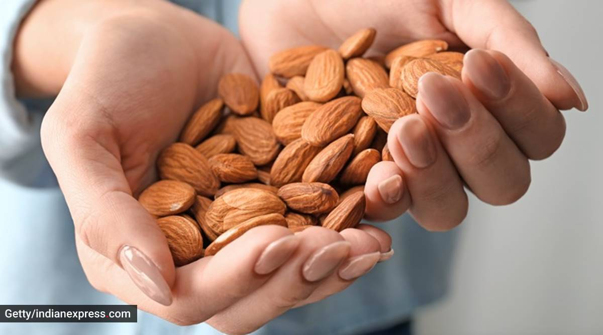almonds, benefits of almonds, almonds for skincare, skincare benefits of almonds, almonds healthy snack, what is almond, almond nutrition, how many almonds should you eat, almond indian express lifestyle, indian express news