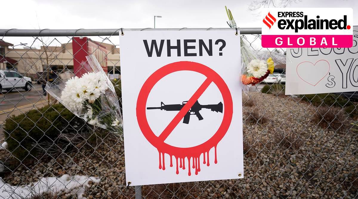 boulder mass shooting, atlanta mass shooting,, gun control in US, joe biden on gun control, express explained, indian express
