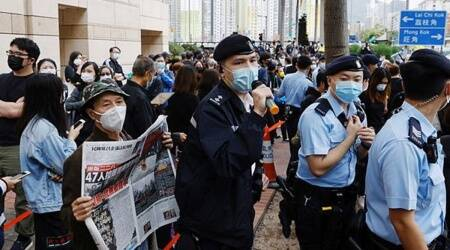 Security tight as crowds gather outside Hong Kong court for subversion hearing