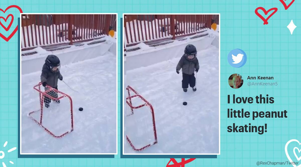 Little boy playing ice hockey, Toddler skating in ice hockey, Viral video, Toddler videos, Toddlers playing sports video, Trending news, Indian Express news.
