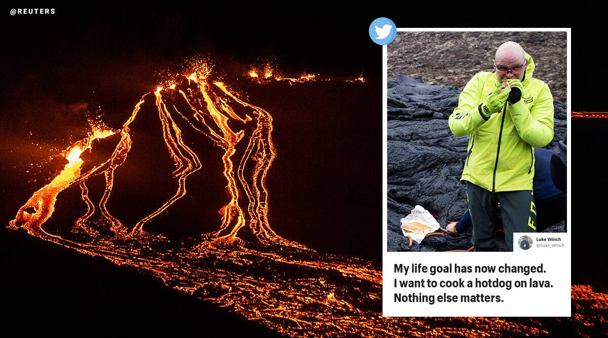 Iceland volcano erupts, mount Fagradalsfjall, cooking on iceland lava, lava hot dogs, molten lava used for cooking, iceland volcano videos, indian express