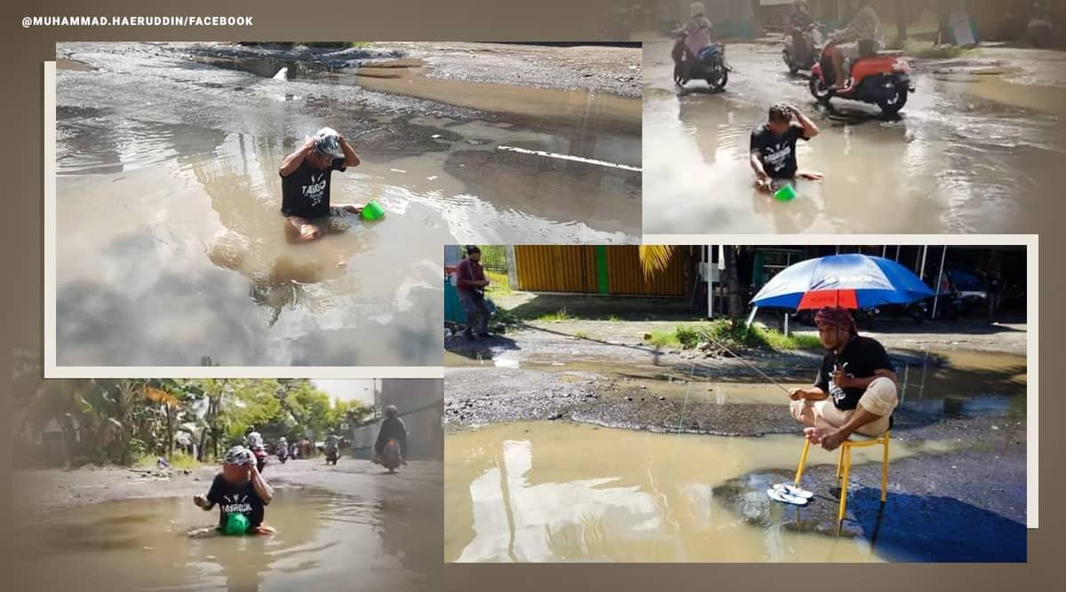 pothole problems, man bathes pothole, man bathing protest in pothole puddle, viral news, odd news, indonesia news, indian express