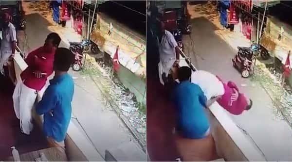 kerala man fall off balcony save, man faints fall off balcony, kerala bank man fall off balcony, viral news, indian express, kerala news