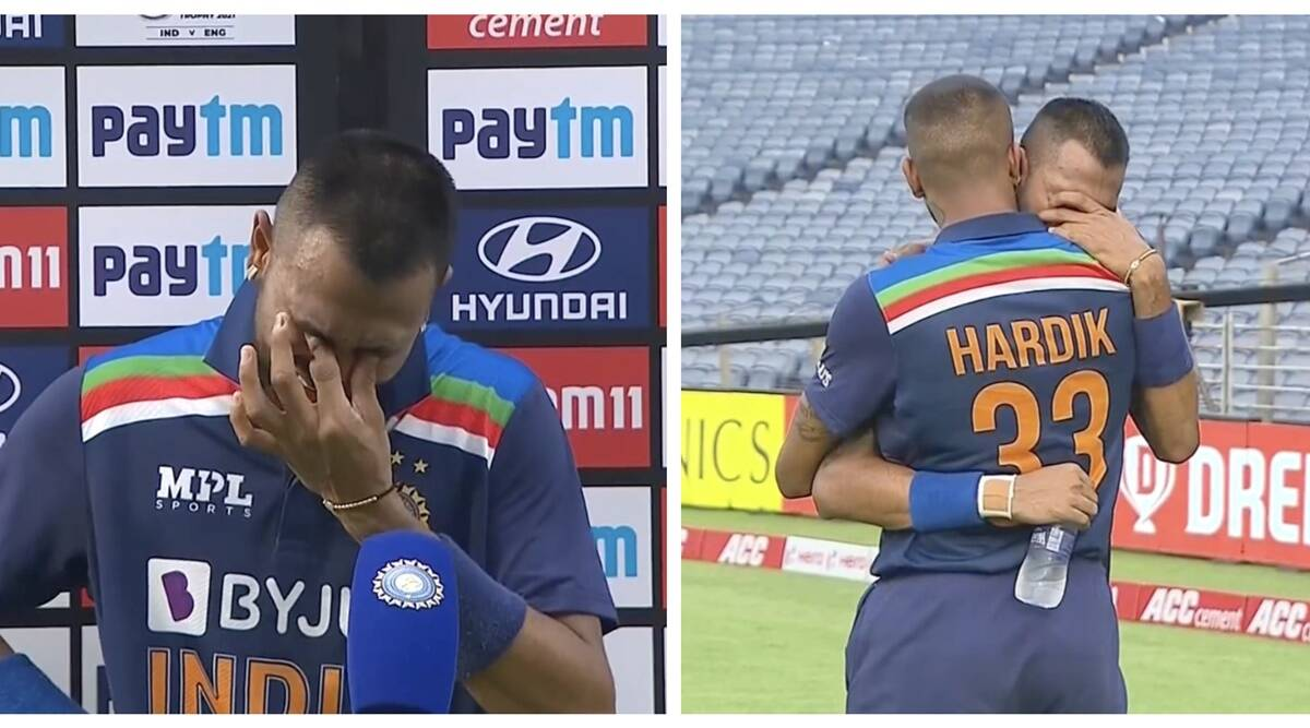 'This one is for my dad': Krunal Pandya breaks down in tears after smashing fastest 50 by ODI debutant - The Indian Express
