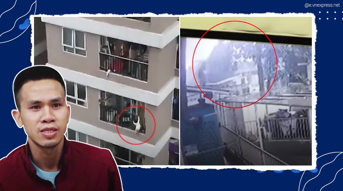 vietnam man saves girl falling from building, man catch girl falling from 12th floor, delivery man saves toddler from high rise, viral news, indian express