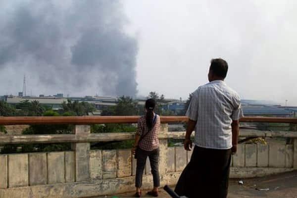 myanmar chinese factory burnt people injured