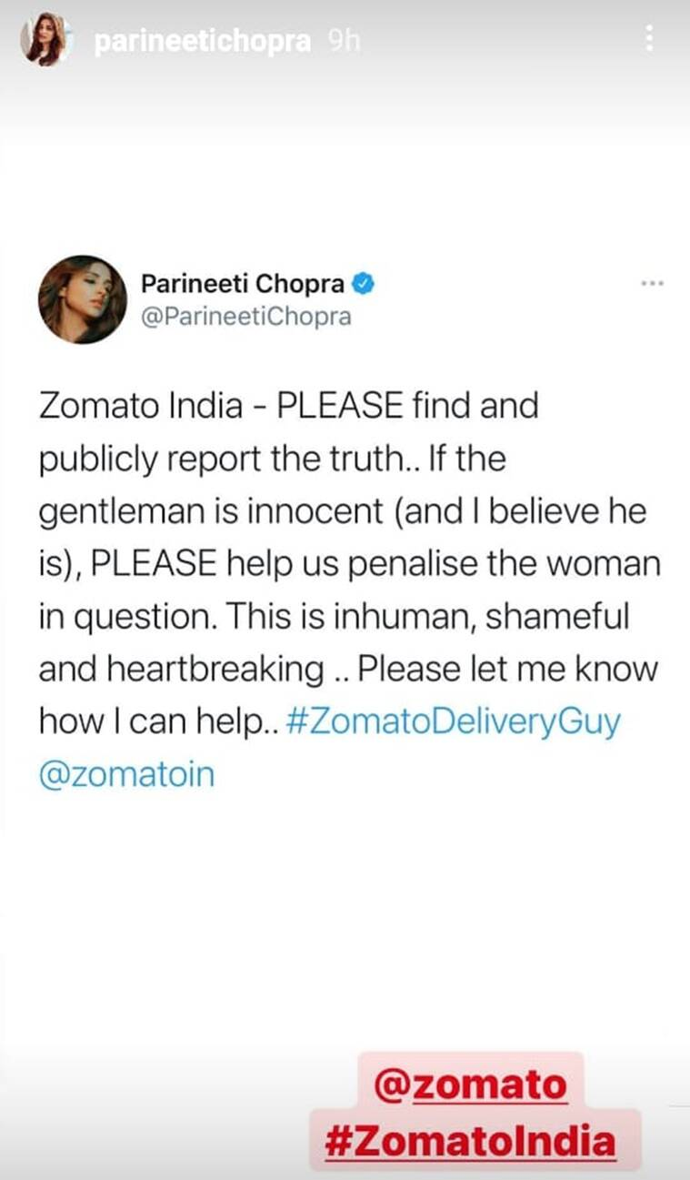 Parineeti Chopra on Zomato rider row: 'If he is innocent, the woman should  be punished' - Live News India