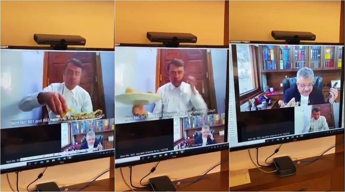 patna lawyer lunch on virtual meeting, patna hc lawyer eating SGI zoom call, yahan bhejo sgi jokes lawyer eating lunch, viral videos, indian express,