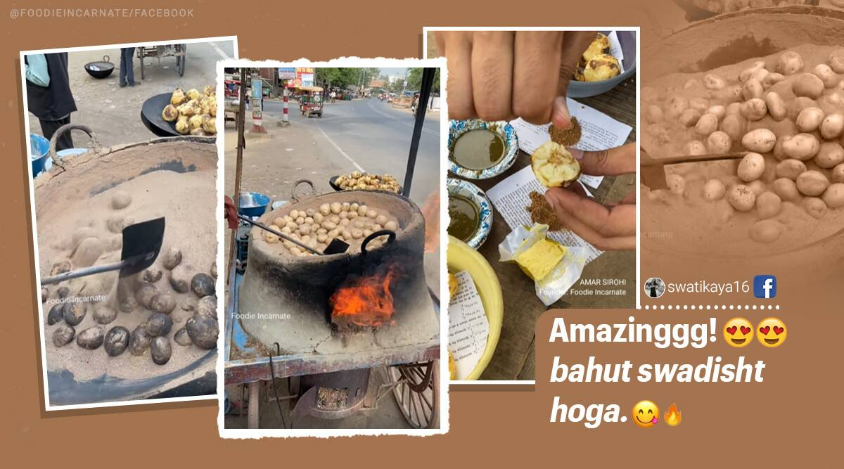 man cooks potatoes in sand, up vendor cooks potatoes in sand, mainpuri potatoes roasted in sand, aloo in baloo, viral videos, unique street foods of india, indian express