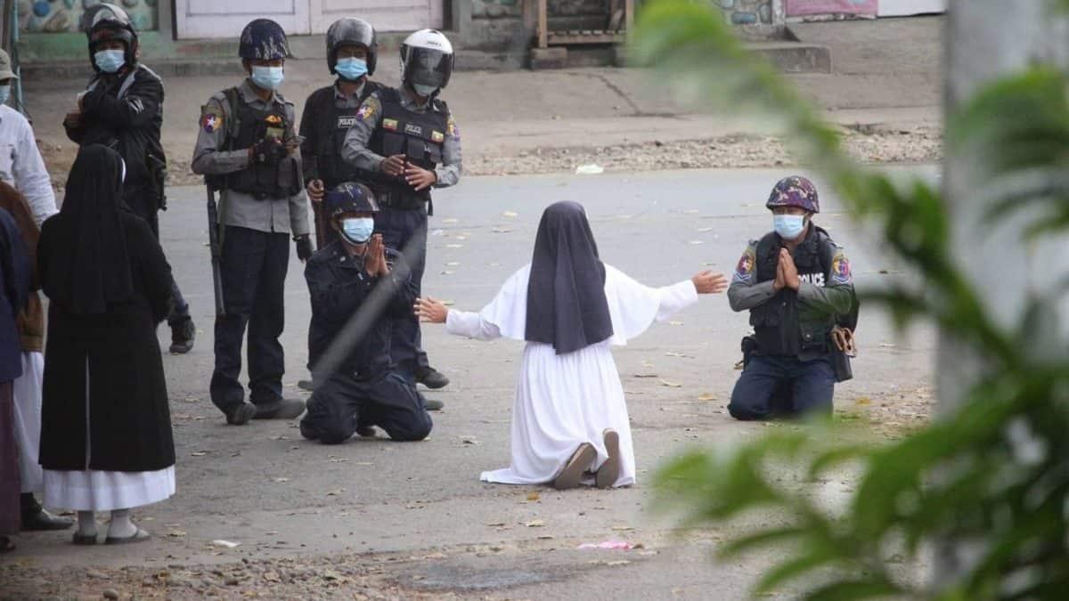 myanmar coup, military coup myanmar, myanmar protesters attacked, peace myanmar, myanmar nuns