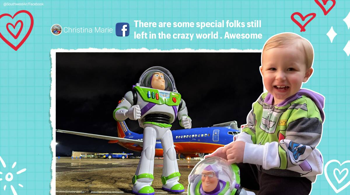 southwest airlines, airline company returns boy missing toy, swa takes boy toy on adventure before return, buzz lightliyear return, good news, indian express
