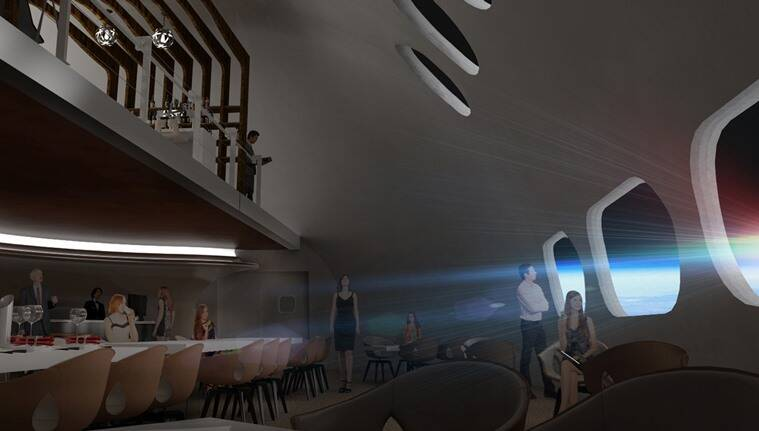world first space hotel, voyager station, space tourism, space hotel images, space news, tourism news, indian express  - space hotel Interior Restaurant Rendering - Step inside the first space hotel, expected to open for business in 2027