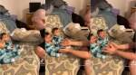 children cry seeing father clean shaven, after dad shaves kids cry, twins fail to recognise father after shave, viral videos, cute baby videos, indian express