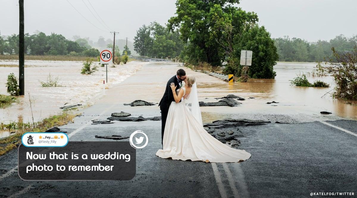 Australia, Australian floods, miracle wedding, Kate Fotheringham, Affinity Helicopters, wedding, wedding trending story, trending, indian express, indian express news