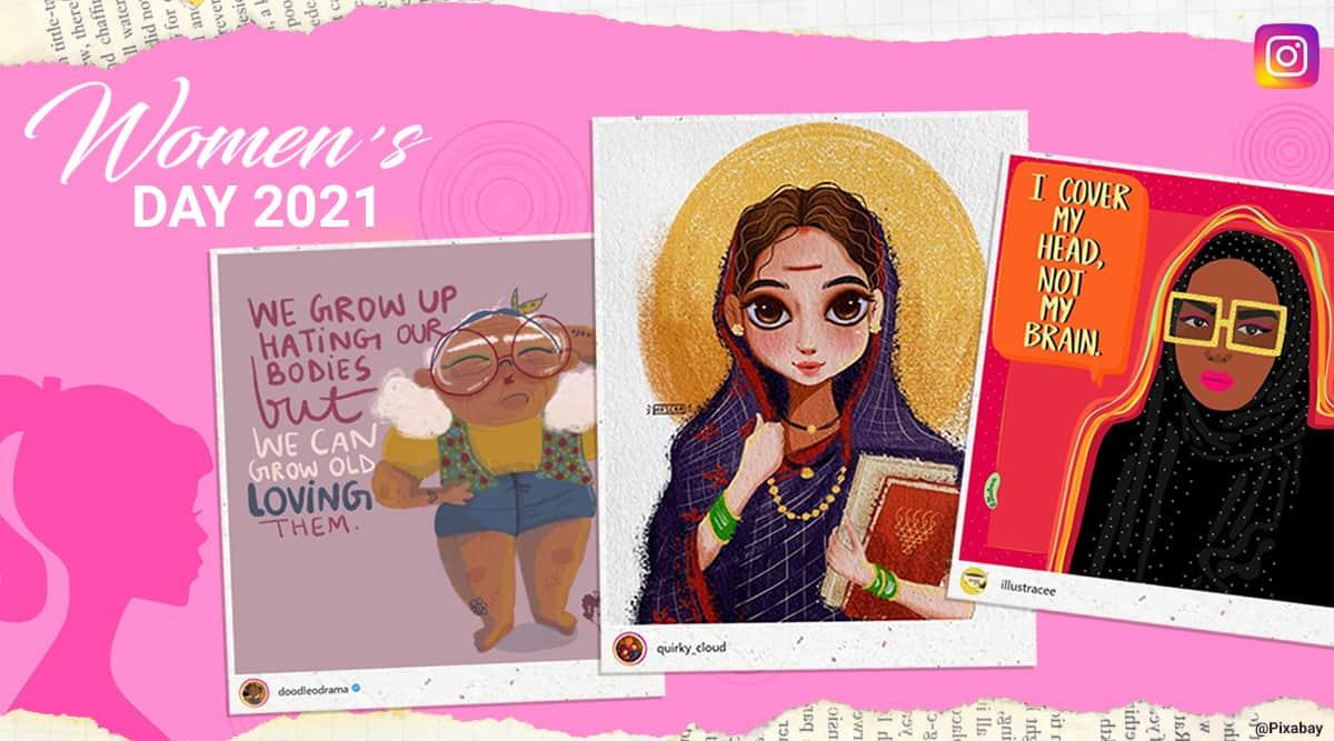 womens day, womens day 2021, feminist cartoons, desi feminist cartoons, indian feminist cartoonist, feminist art, indian express