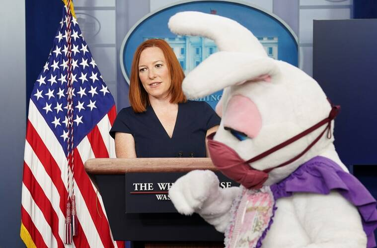 Easter bunny, Easter bunny white house, White House press briefing surprise visit, Easter 2021, White house Easter, White house Easter celebrations, Trending news, Indian Express news
