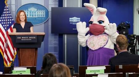 Easter bunny, Easter bunny white house, White House press briefing surprise visit, Easter surprise White House, Easter 2021, White house Easter, White house Easter celebrations, Trending news, Indian Express news