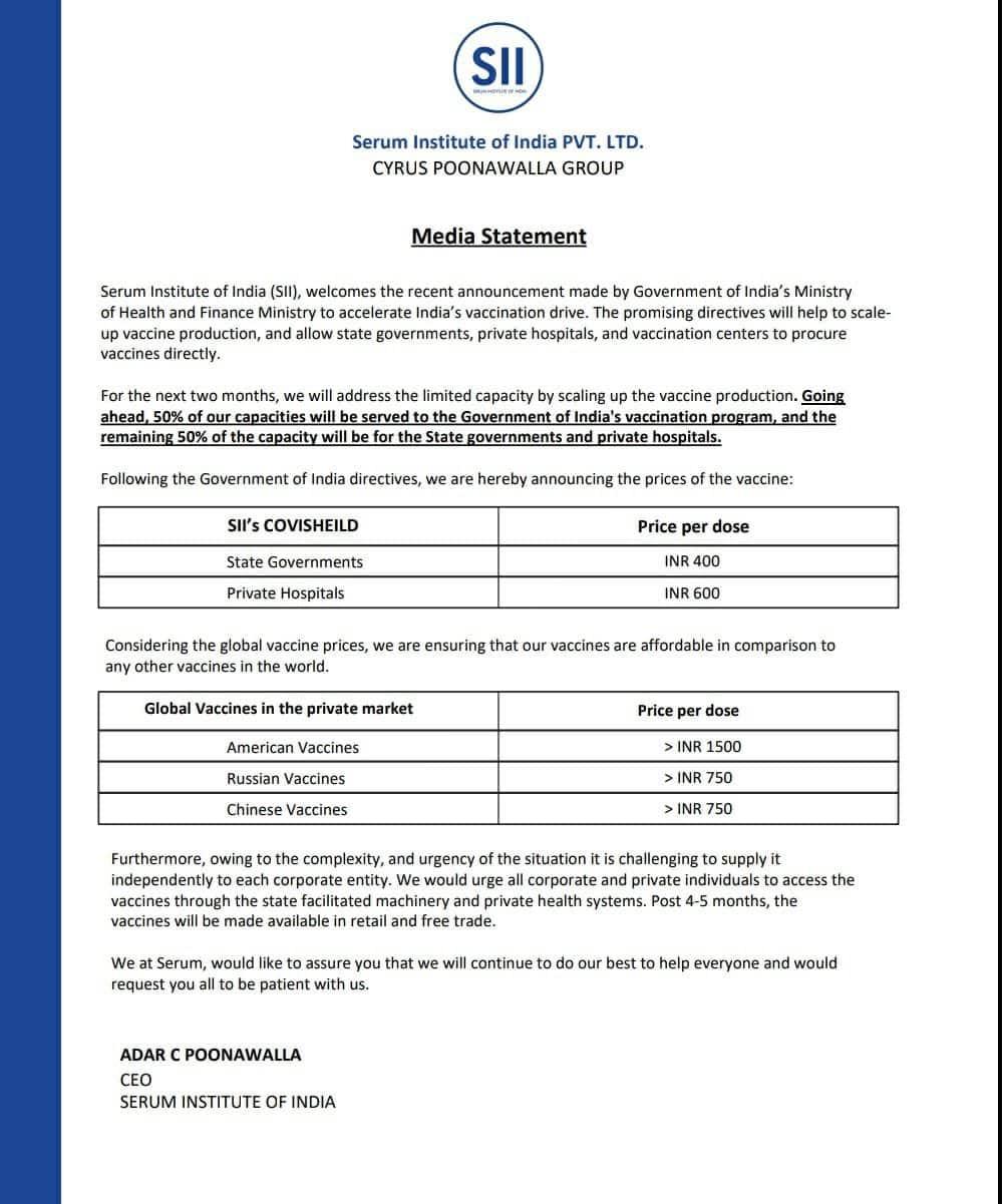 Covishield vaccine price., Covishield vaccine price announced, price of covishield vaccine
