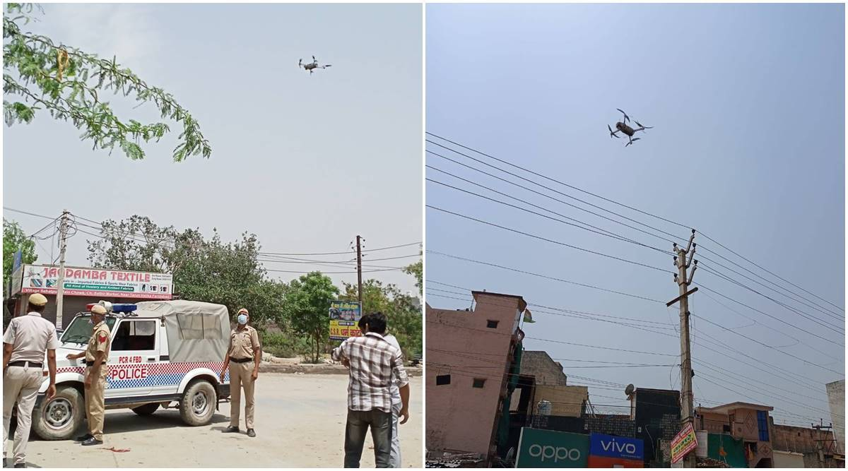 Faridabad covid protocols, Faridabad police uses drones, Faridabad news, People not following protocols, Indian express