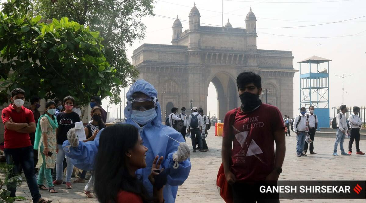 Mumbai, COVID-19, Mumbai new coronavirus cases, mumbai covid-19 cases, mumbai active coronavirus cases, mumbai hospital beds, mumbai oxygen in hospitals, Indian express