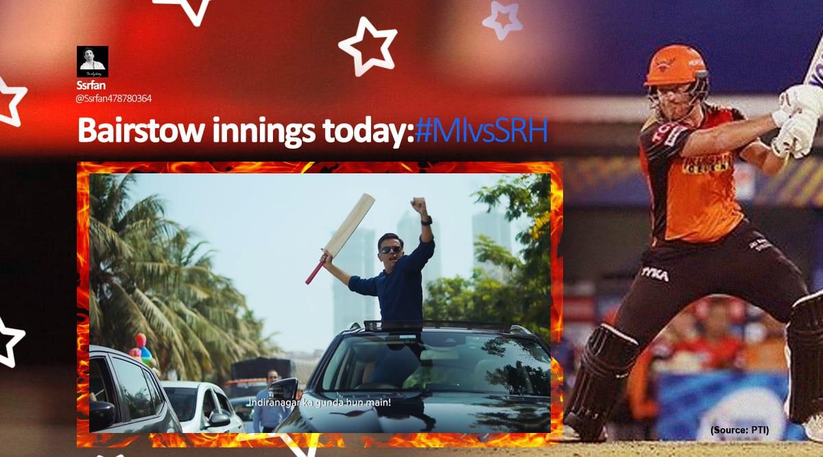 IPL, IPL 2021, IPL season, Jonny Bairstow, Jonny Bairstow memes, IPL memes, Mumbai Indians, Sunrisers Hyderabad, MI vs SRH IPL 2021, twitter reactions, indian express news