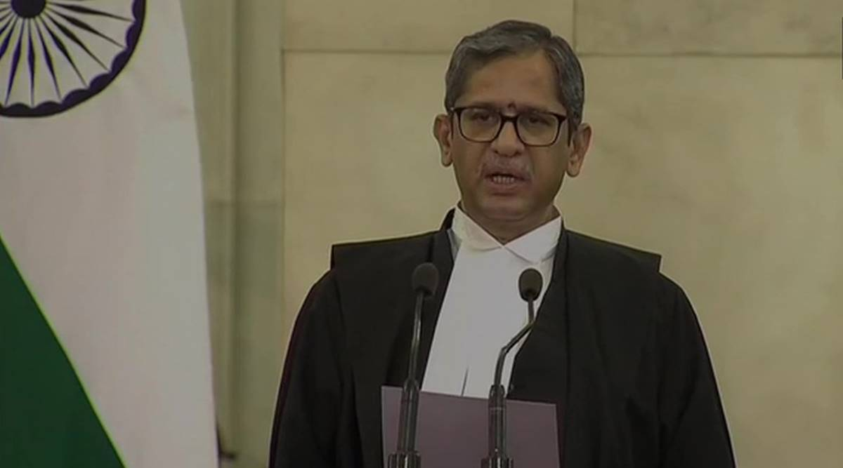 New CJI, Chief Justivce of India, N V Ramana sworn in as CJI, 48th CJI, Who is N V Ramana, India news, Supreme court, Indian express