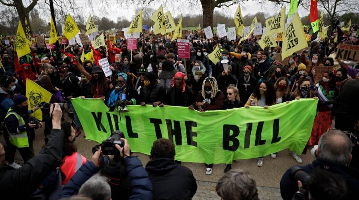 Scuffles in London as thousands join 'kill the bill' rallies across Britain