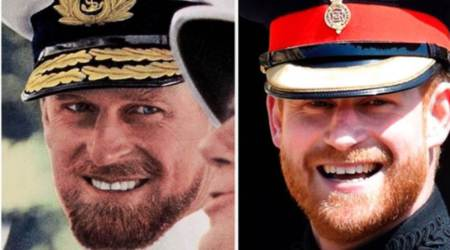Prince Philip, Prince Harry, Prince Philip old photograph, Philip and Harry resemblance, indian express news