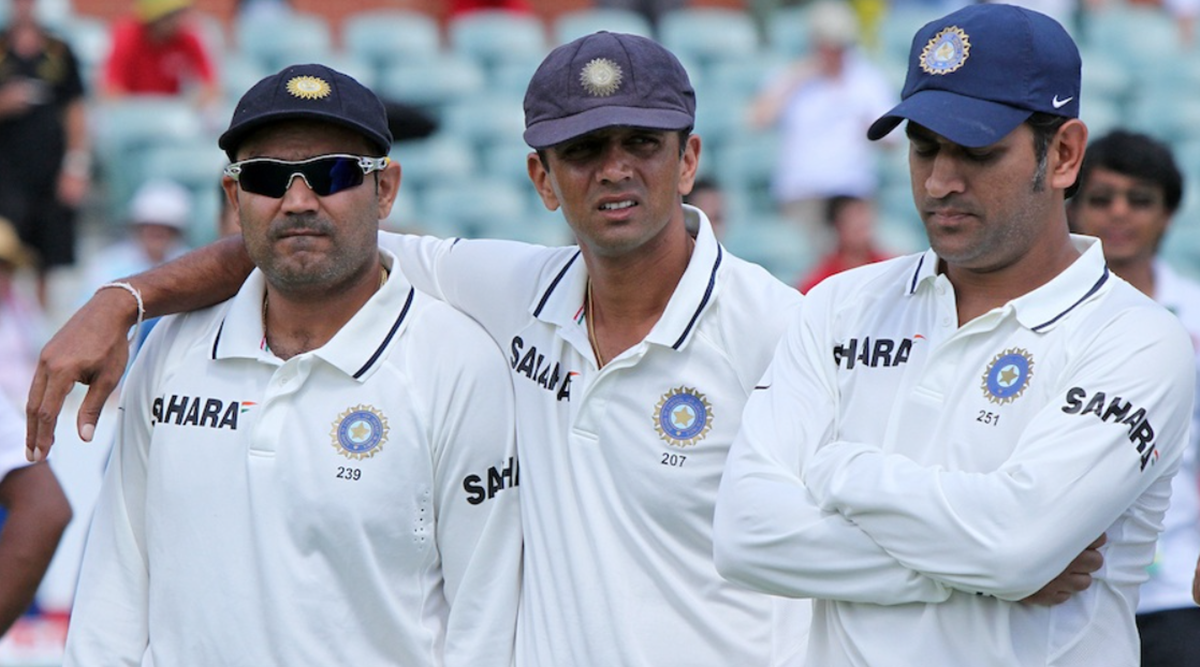 Rahul Dravid, Virender Sehwag and MS Dhoni (File Photo/BCCI)
