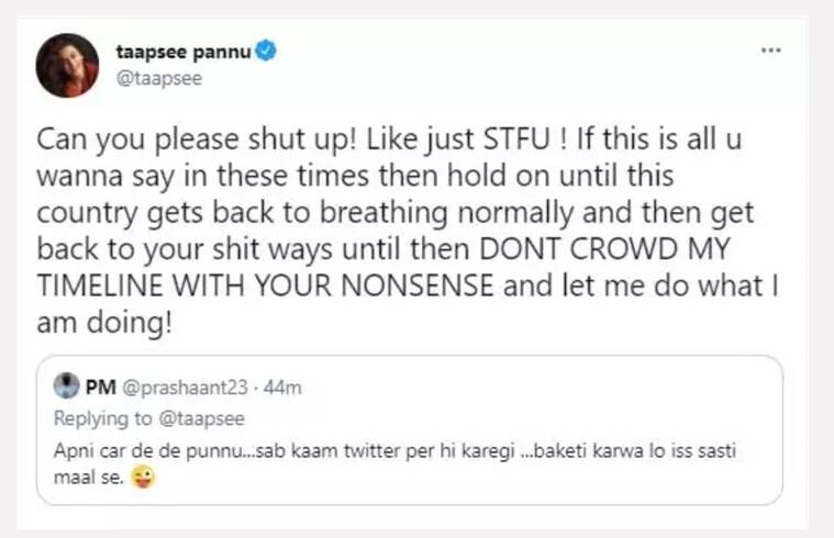 taapsee pannu troll reply