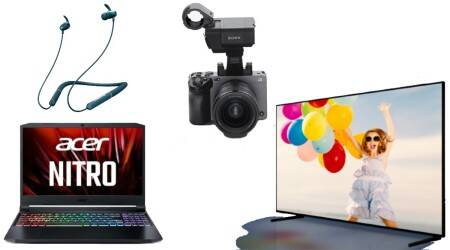 Sony camera, Acer laptop, Lenovo ThinkBook, Wireless neckband, Samsung 8K OLED TV
