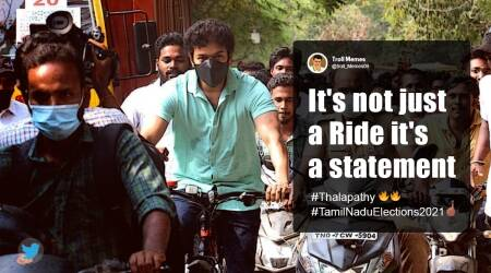 Assembly Elections, Assembly election 2021, Tamil Nadu Assembly pools, Actor Vijay, Actor Vijay on Bicycle, Actor Vijay vote, Actor Vijay rides bicycle to polling booth, Actor Vijay bicycle viral video, Tamil Nadu Assembly election, Trending news, Indian Express news