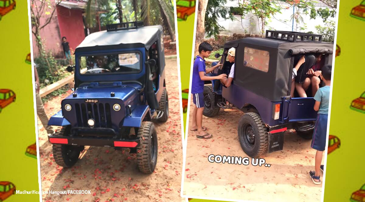 Miniature jeep for children, Toy miniature jeep, Miniature replica Mahindra jeep, Children's toys, Miniature jeep toys for children, Kerala news, Toy jeep Mahindra, Indian Express news, Trending news