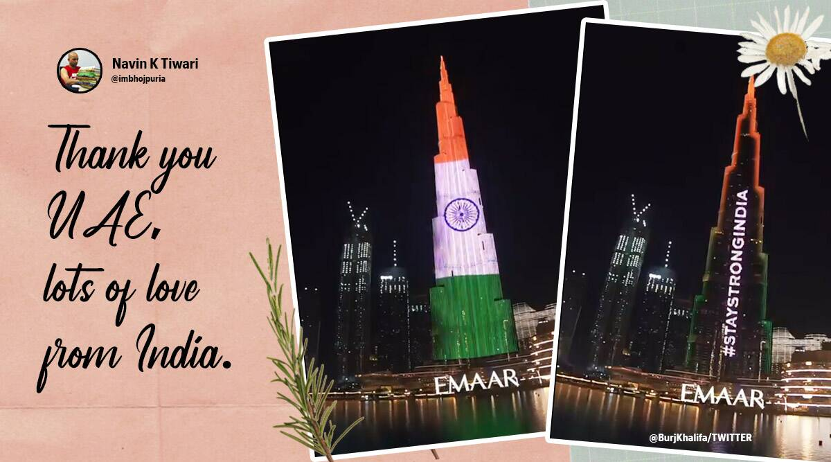 Burj Khalifa, Burj Khalifa light show, Burj Khalifa in tri colours, Burj Khalifa solidarity with India's COVID-19 fight, Dubai, Dubai landmarks in tricolours, Burj Khalifa Solidarity with India, India fights coronavirus, UAE, Covid-19, Coronavirus, Coronavirus second wave India, Trending news, Indian Express news