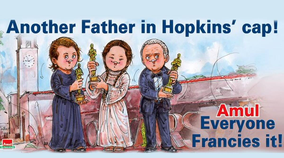 Amul topical, Amul doodle academy award, Amul doodle celebrates academy ward wins, 93rd Academy Awards, Oscar awards2021, Best Actor Oscar, Best Actress Oscar, Best Director Oscar, Chloe Zhao, Frances McDormand, Anthony Hopkins, Trending news, Indian Express news
