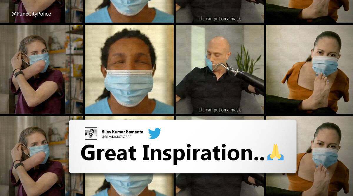 Pune police, Face mask, Inspirational video with disabled people, COVID-19, Coronavirus, Face mask inspirational video, Pune police twitter, Israeli mask campaign footage, Face mask video, Indian Express news.