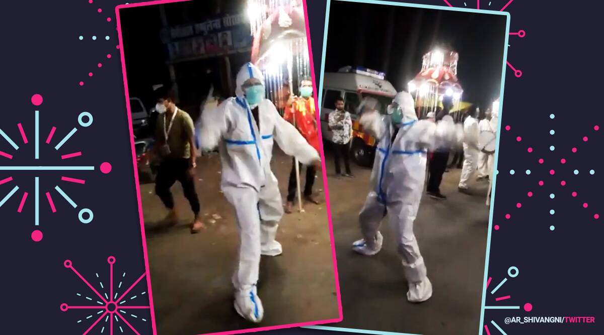 Uttarakhand, Ambulance driver dance in PPE kit wedding procession, Uttarakhand covid-19 updates, coronavirus second wave India, Viral video, Trending news, Indian Express news