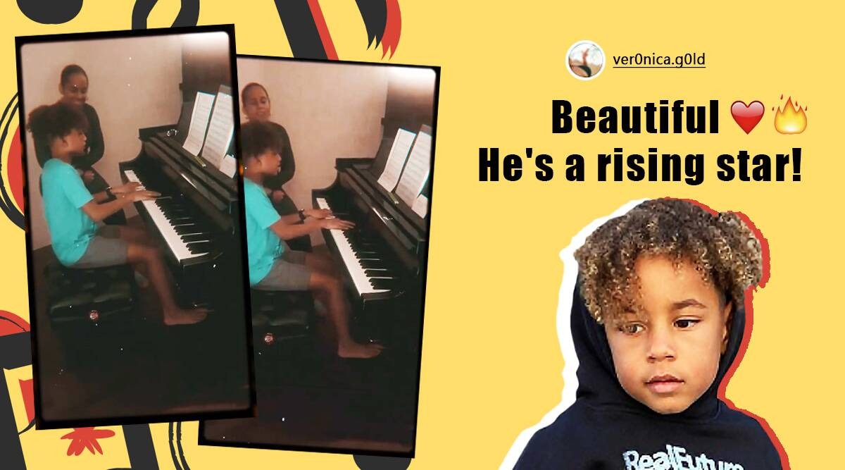 Alicia Keys, Alicia Keys son duet, Alicia Keys duet with son viral video, Alicia Keys son Sweet Dreams duet session, Sweet Dreams son Egypt playing the piano, Viral videos, Alicia Keys Instagram, Trending news, Indian Express news