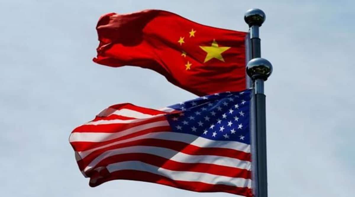 US flag, China flag, US china ties