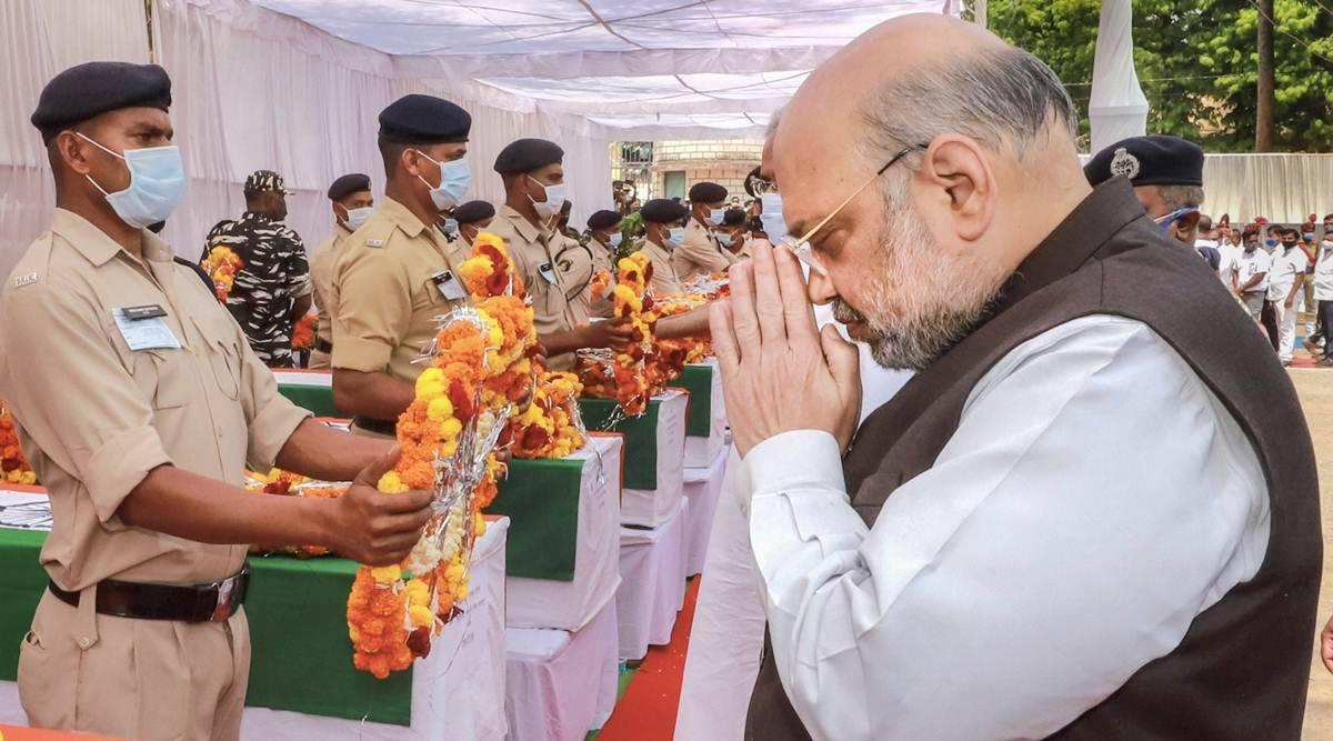 Chhattisgarh: Shah, Baghel attend wreath ceremony, tell forces that battle against Maoists will go on