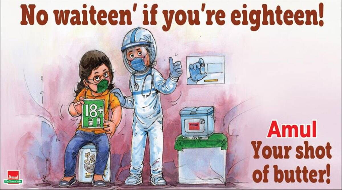covid vaccine, covid 19 vaccine for all, amul cartoon, amul topicals, amul covid vaccine cartoon, amul latest cartoon, viral news, indian express